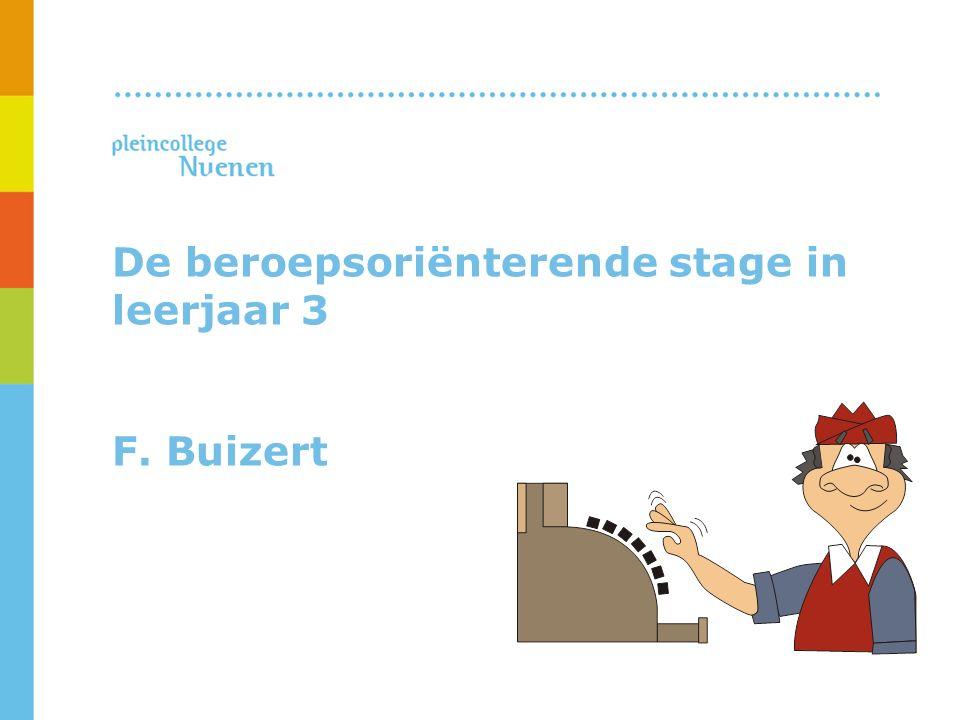 De beroepsoriënterende stage in leerjaar 3 F. Buizert