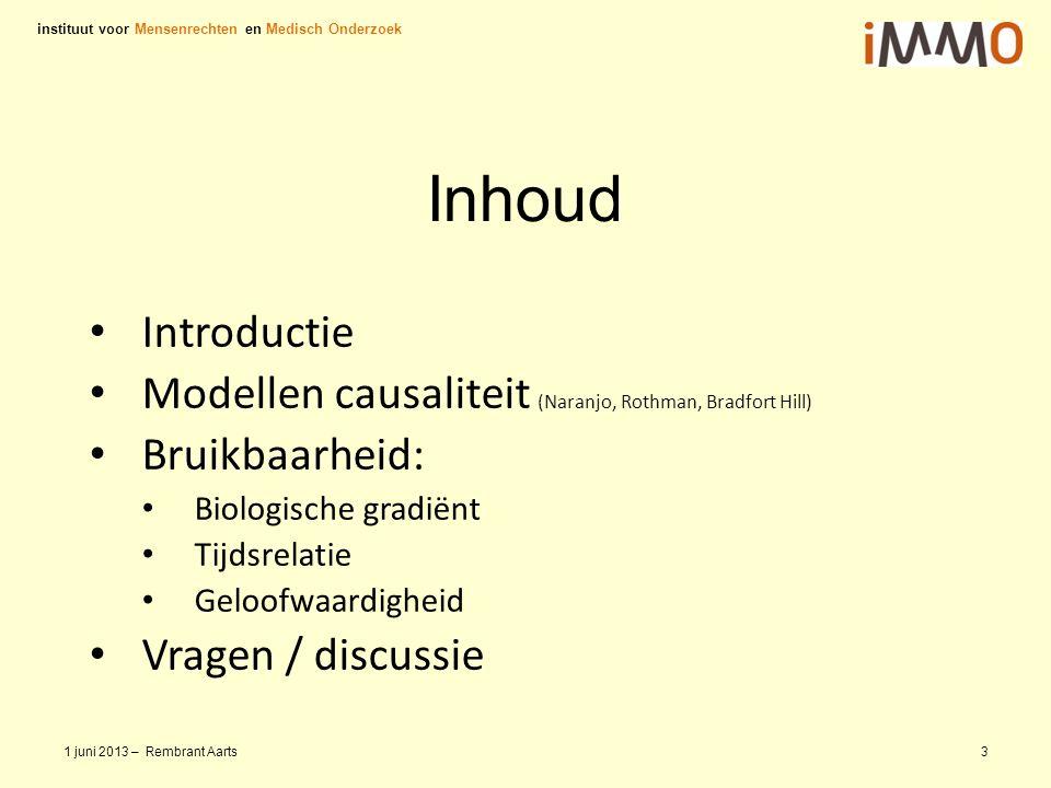 Inhoud Introductie Modellen causaliteit (Naranjo, Rothman, Bradfort Hill) Bruikbaarheid: Biologische gradiënt Tijdsrelatie Geloofwaardigheid Vragen /