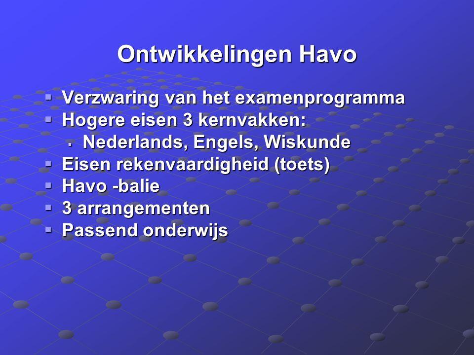 Ontwikkelingen Havo  Verzwaring van het examenprogramma  Hogere eisen 3 kernvakken:  Nederlands, Engels, Wiskunde  Eisen rekenvaardigheid (toets)  Havo -balie  3 arrangementen  Passend onderwijs