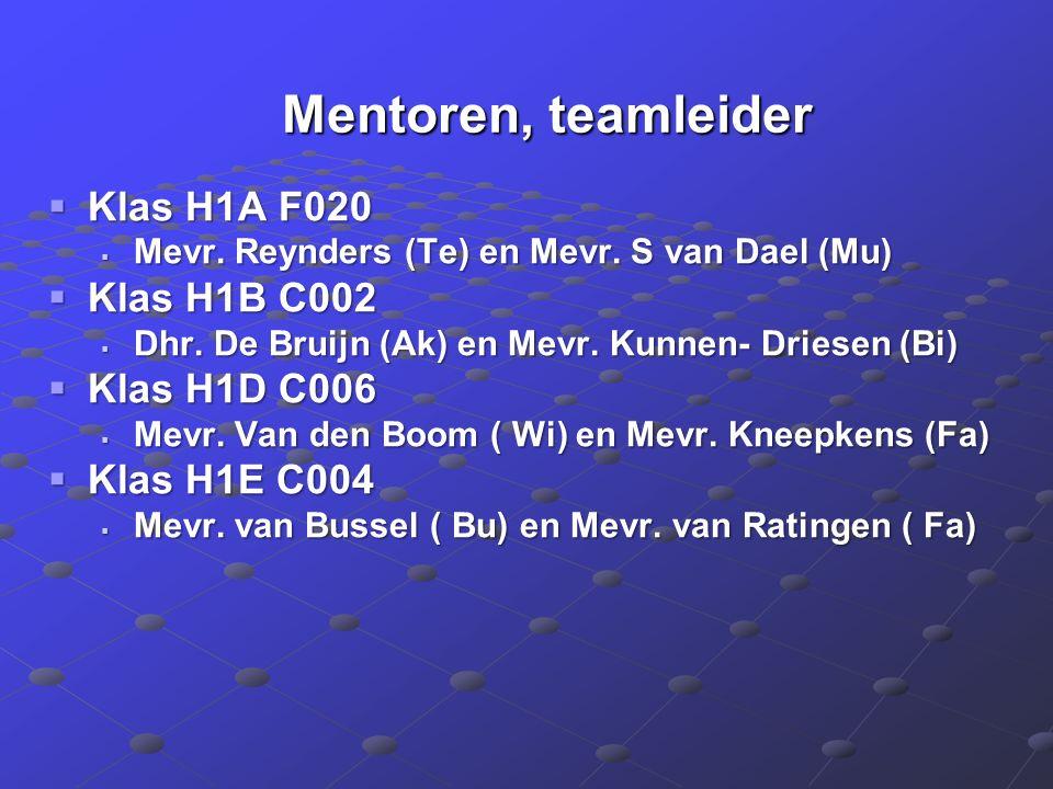 Mentoren, teamleider Mentoren, teamleider  Klas H1A F020  Mevr.