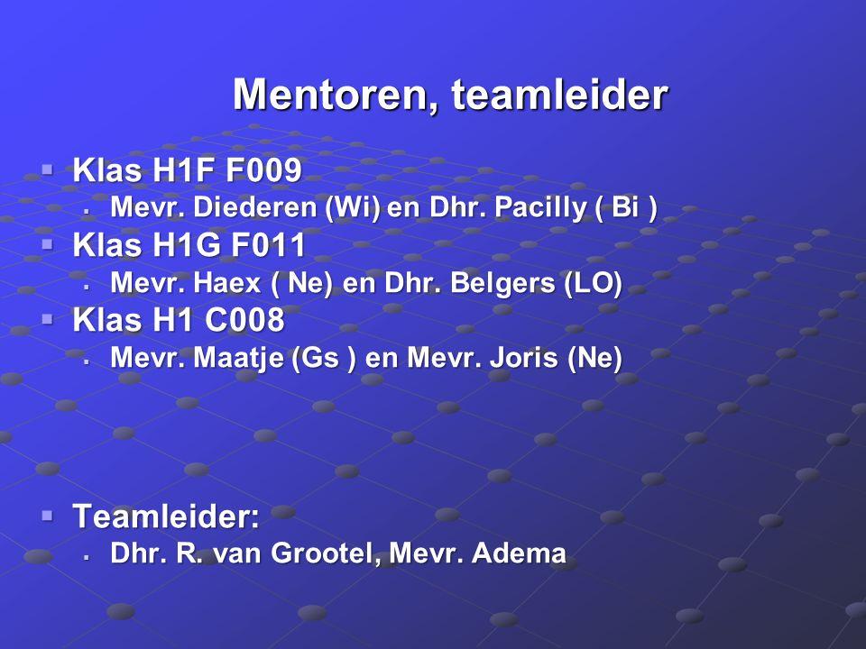 Mentoren, teamleider Mentoren, teamleider  Klas H1F F009  Mevr.