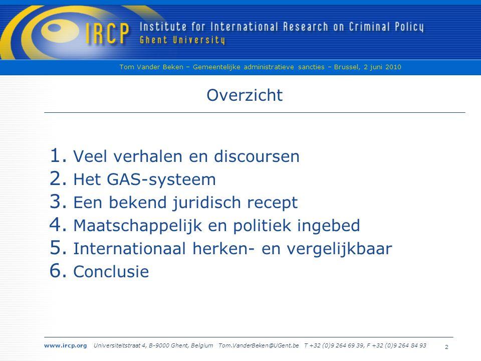 www.ircp.org Universiteitstraat 4, B-9000 Ghent, Belgium Tom.VanderBeken@UGent.be T +32 (0)9 264 69 39, F +32 (0)9 264 84 93 Tom Vander Beken – Gemeentelijke administratieve sancties – Brussel, 2 juni 2010 1 Gemeentelijke administratieve sancties in context Prof.