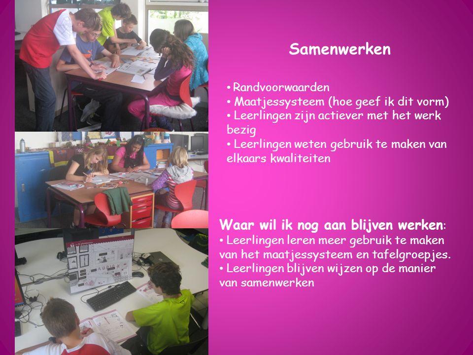 Samenwerken Randvoorwaarden Maatjessysteem (hoe geef ik dit vorm) Leerlingen zijn actiever met het werk bezig Leerlingen weten gebruik te maken van el