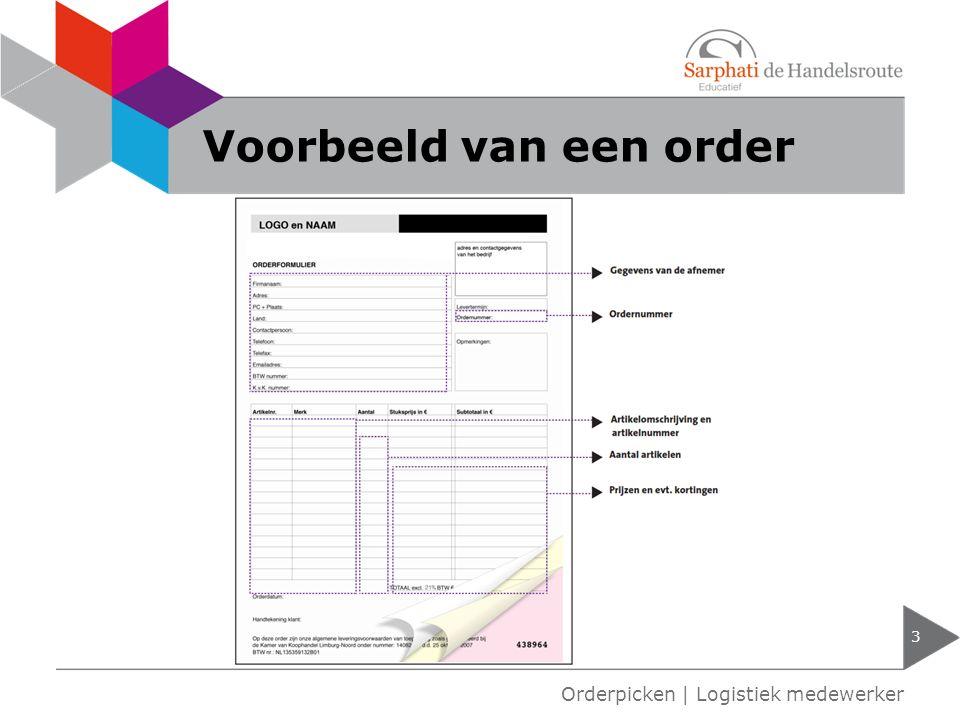 Voorbeeld van een order 3 Orderpicken | Logistiek medewerker