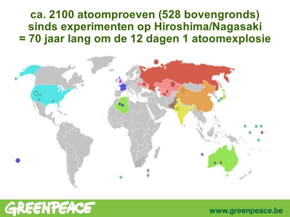 ca. 2100 atoomproeven (528 bovengronds) sinds experimenten op Hiroshima/Nagasaki = 70 jaar lang om de 12 dagen 1 atoomexplosie