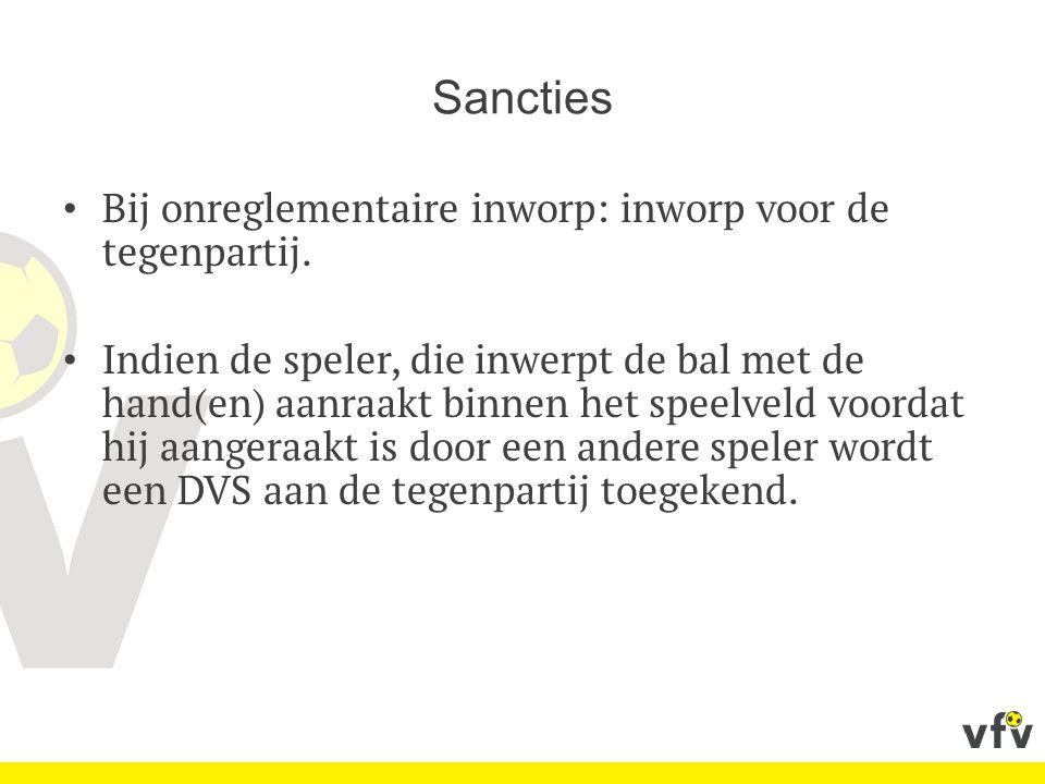 Sancties Bij onreglementaire inworp: inworp voor de tegenpartij.