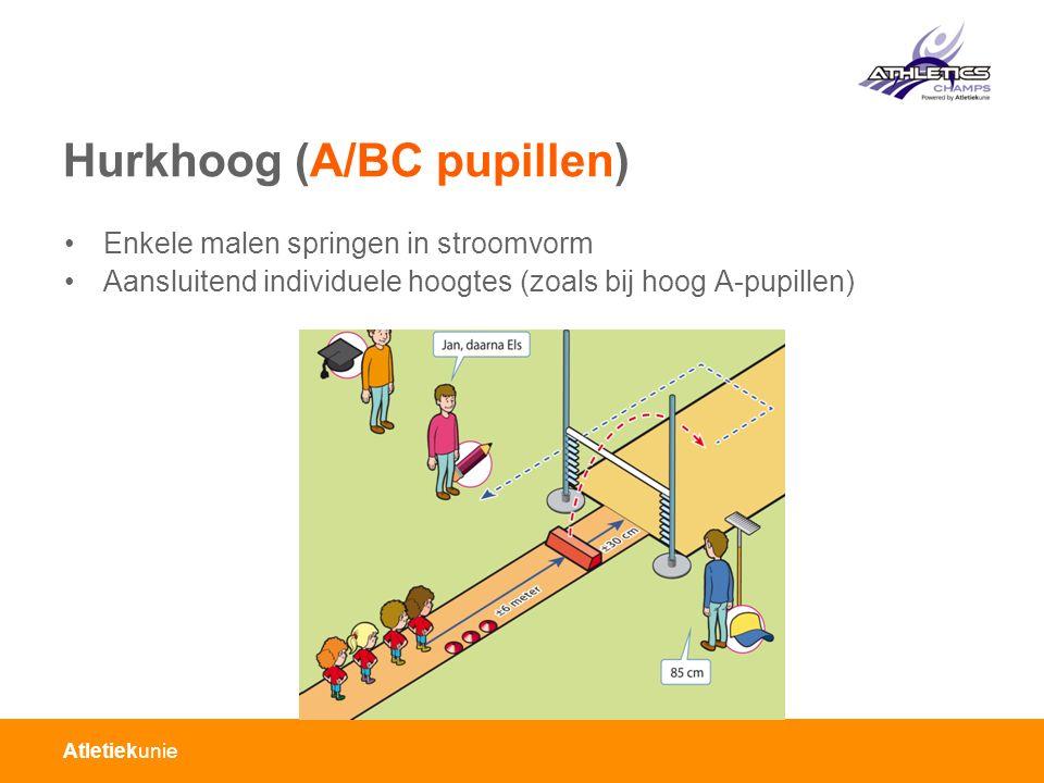 Atletiekunie Hurkhoog (A/BC pupillen) Enkele malen springen in stroomvorm Aansluitend individuele hoogtes (zoals bij hoog A-pupillen)