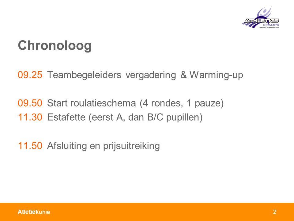 Atletiekunie2 Chronoloog 09.25Teambegeleiders vergadering & Warming-up 09.50Start roulatieschema (4 rondes, 1 pauze) 11.30Estafette (eerst A, dan B/C