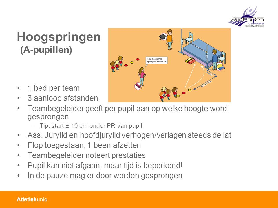 Atletiekunie Hoogspringen (BC-pupillen) 1 bed per team 3 aanloop afstanden Teambegeleider geeft per pupil aan op welke hoogte wordt gesprongen –Tip: start ± 10 cm onder PR van pupil Ass.