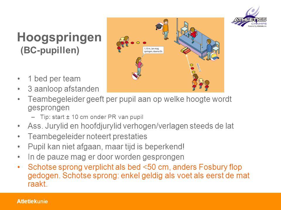 Atletiekunie Hoogspringen (BC-pupillen) 1 bed per team 3 aanloop afstanden Teambegeleider geeft per pupil aan op welke hoogte wordt gesprongen –Tip: s