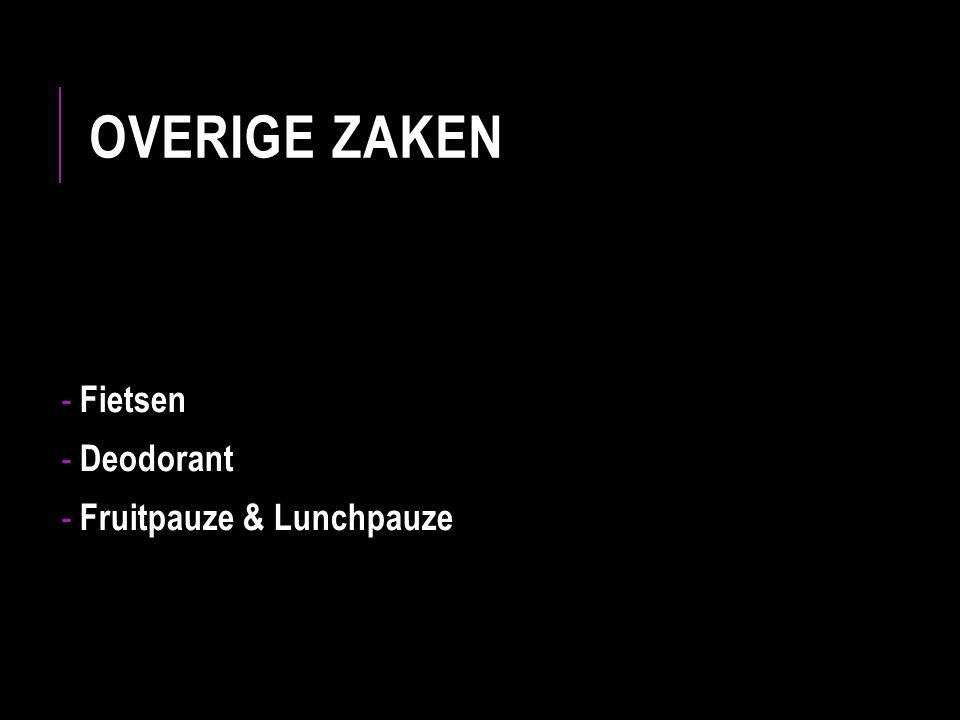OVERIGE ZAKEN - Fietsen - Deodorant - Fruitpauze & Lunchpauze