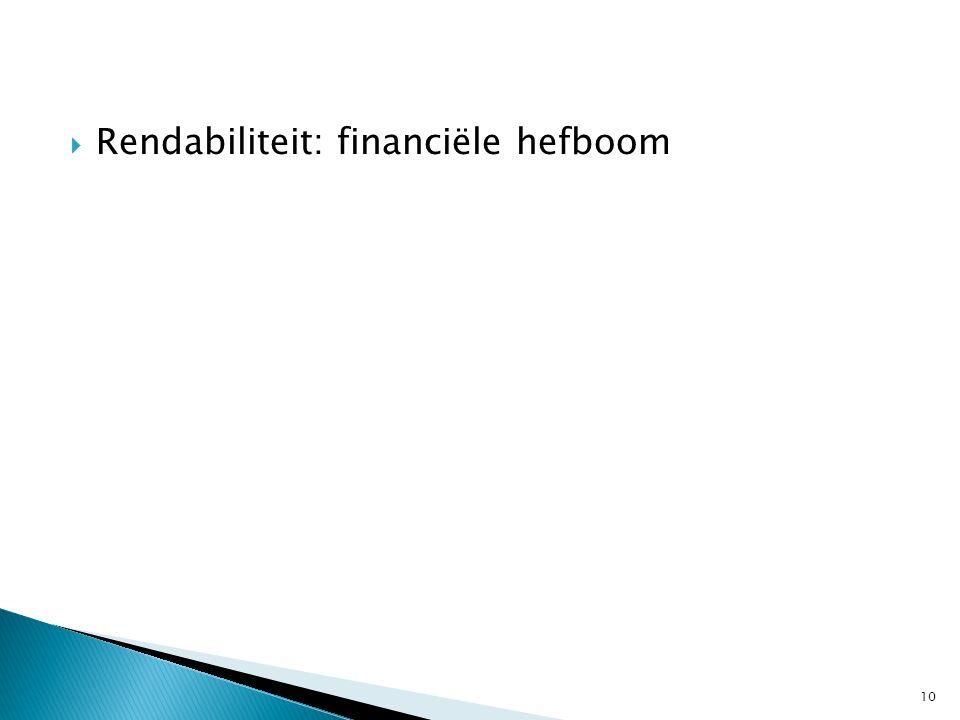  Rendabiliteit: financiële hefboom 10