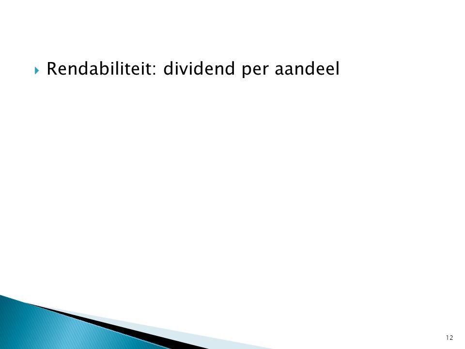  Rendabiliteit: dividend per aandeel 12