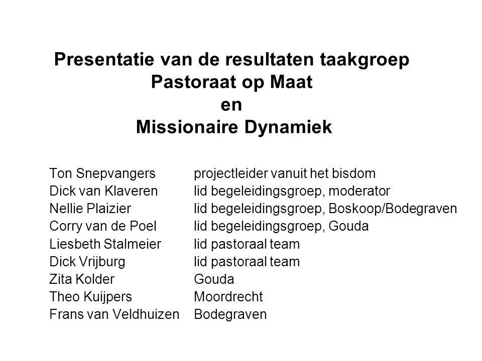 Presentatie van de resultaten taakgroep Pastoraat op Maat en Missionaire Dynamiek Ton Snepvangers projectleider vanuit het bisdom Dick van Klaveren li