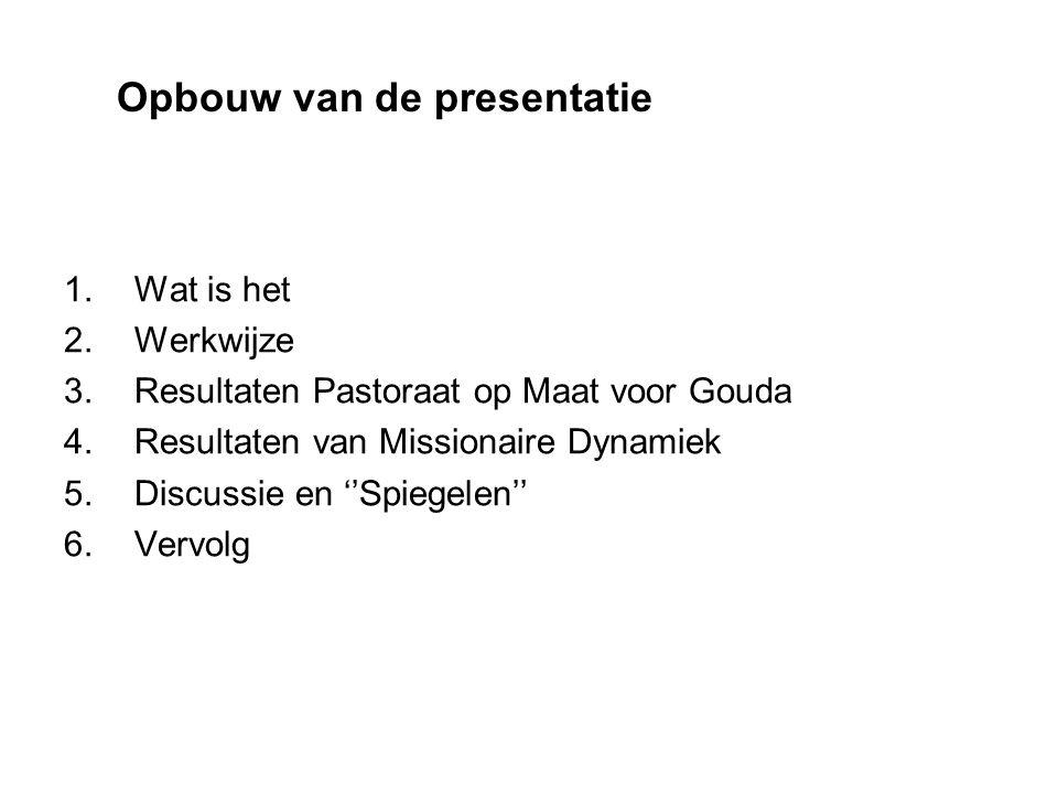 1.Wat is het 2.Werkwijze 3.Resultaten Pastoraat op Maat voor Gouda 4.Resultaten van Missionaire Dynamiek 5.Discussie en ''Spiegelen'' 6.Vervolg Opbouw van de presentatie