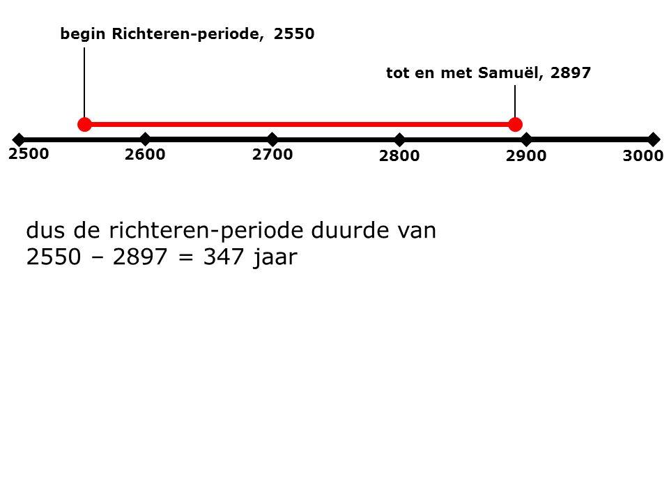 2500 2600 2700 280029003000 begin Richteren-periode, 2550 dus de richteren-periode duurde van 2550 – 2897 = 347 jaar tot en met Samuël, 2897