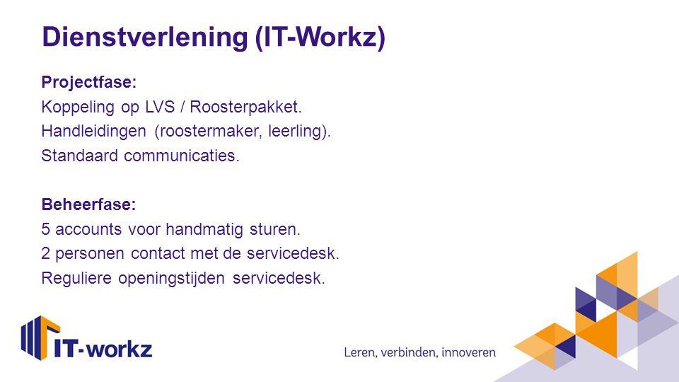 Dienstverlening (IT-Workz) Projectfase: Koppeling op LVS / Roosterpakket. Handleidingen (roostermaker, leerling). Standaard communicaties. Beheerfase: