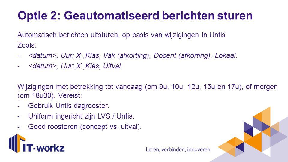 Dienstverlening (IT-Workz) Projectfase: Koppeling op LVS / Roosterpakket.