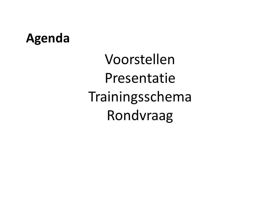 Voorstellen Presentatie Trainingsschema Rondvraag Agenda