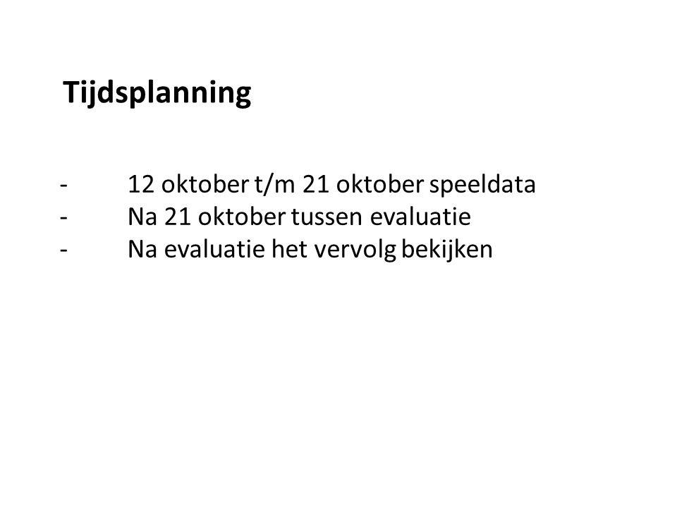 - 12 oktober t/m 21 oktober speeldata - Na 21 oktober tussen evaluatie - Na evaluatie het vervolg bekijken Tijdsplanning