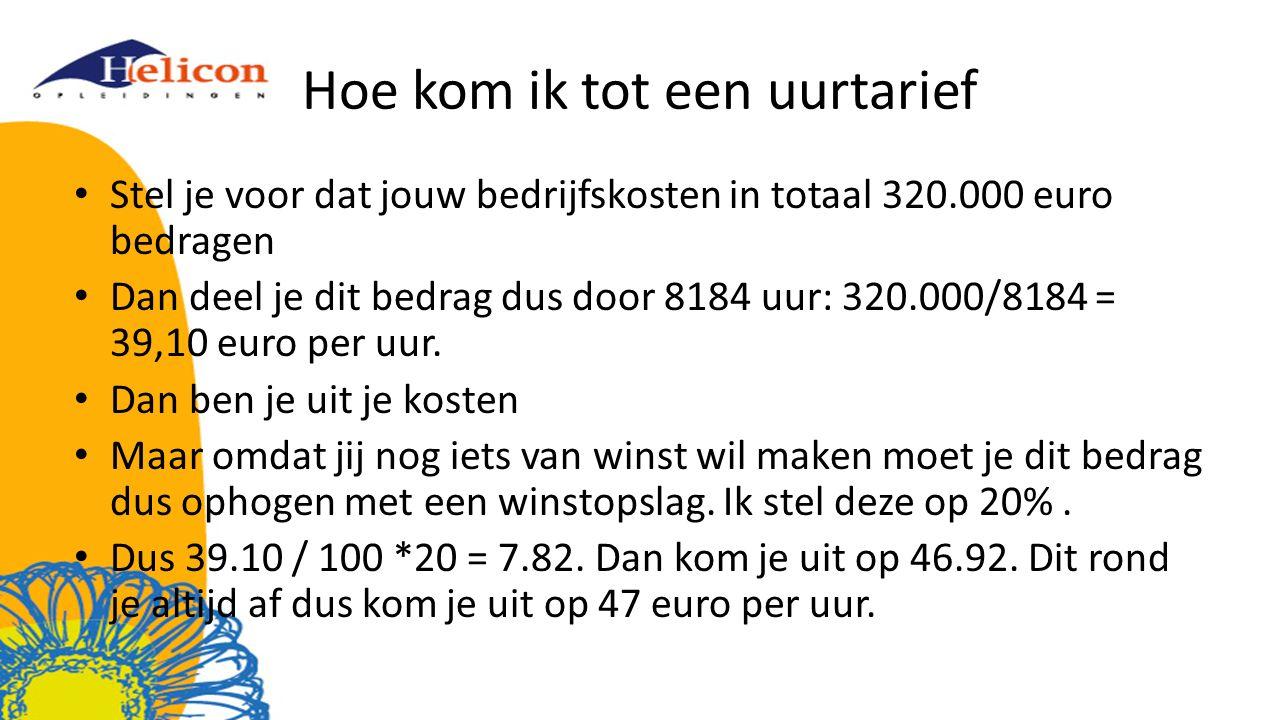 Hoe kom ik tot een uurtarief Stel je voor dat jouw bedrijfskosten in totaal 320.000 euro bedragen Dan deel je dit bedrag dus door 8184 uur: 320.000/8184 = 39,10 euro per uur.