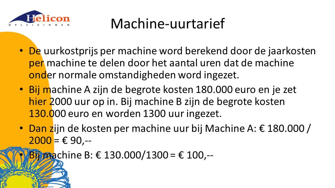 Machine-uurtarief De uurkostprijs per machine word berekend door de jaarkosten per machine te delen door het aantal uren dat de machine onder normale omstandigheden word ingezet.