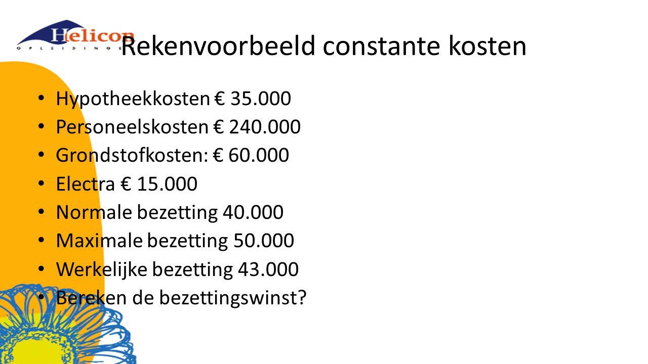 Rekenvoorbeeld constante kosten Hypotheekkosten € 35.000 Personeelskosten € 240.000 Grondstofkosten: € 60.000 Electra € 15.000 Normale bezetting 40.000 Maximale bezetting 50.000 Werkelijke bezetting 43.000 Bereken de bezettingswinst?