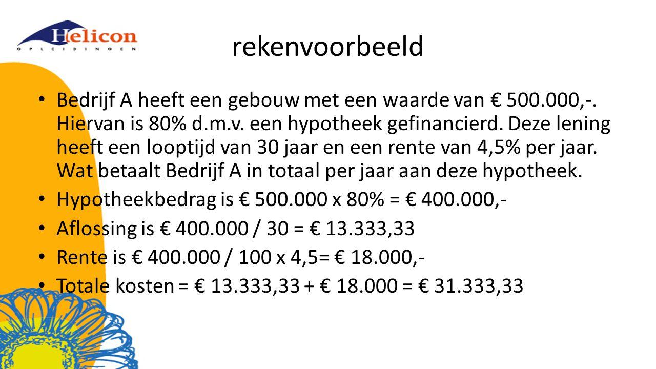 rekenvoorbeeld Bedrijf A heeft een gebouw met een waarde van € 500.000,-.