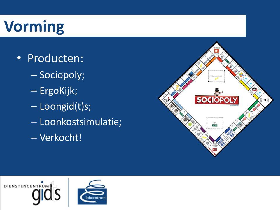 Vorming Producten: – Sociopoly; – ErgoKijk; – Loongid(t)s; – Loonkostsimulatie; – Verkocht!