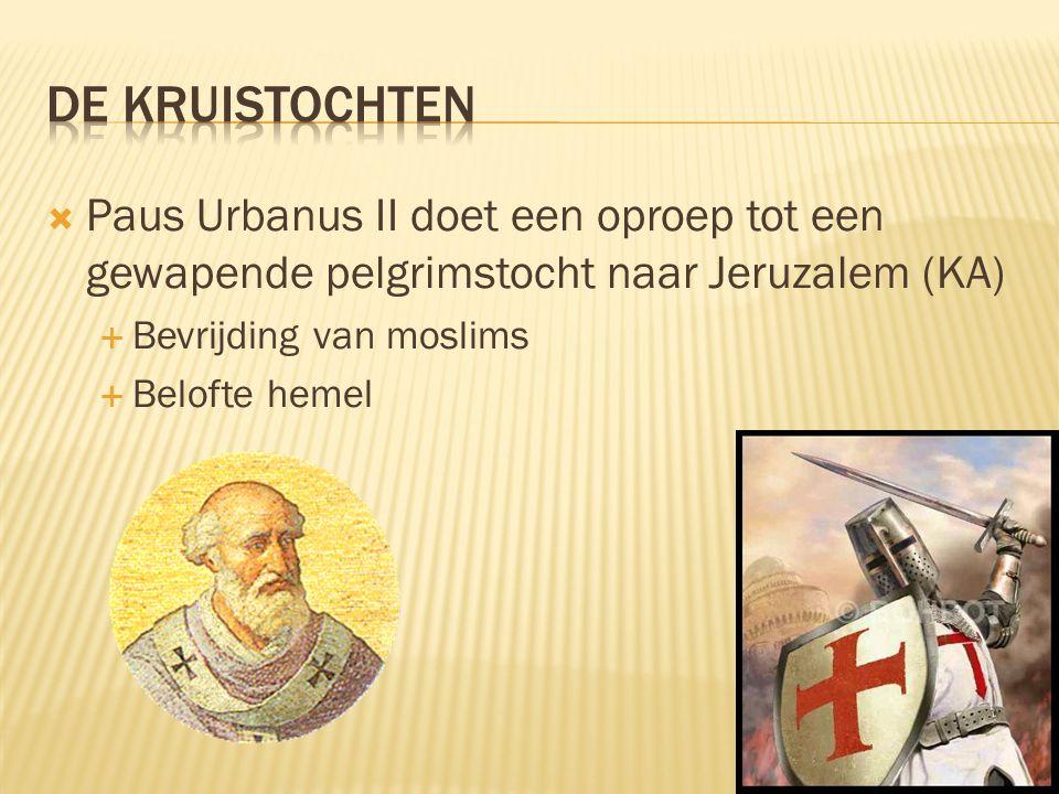  Paus Urbanus II doet een oproep tot een gewapende pelgrimstocht naar Jeruzalem (KA)  Bevrijding van moslims  Belofte hemel