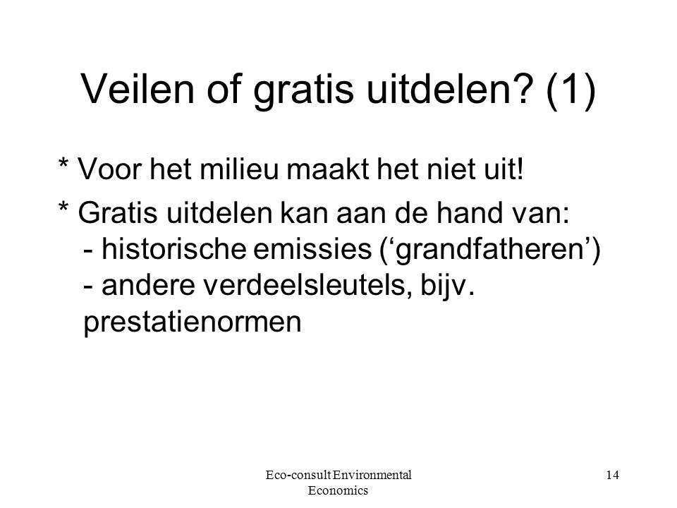 Eco-consult Environmental Economics 14 Veilen of gratis uitdelen.