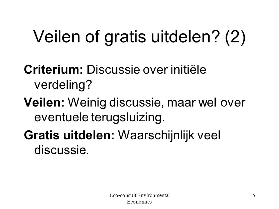 Eco-consult Environmental Economics 15 Veilen of gratis uitdelen.