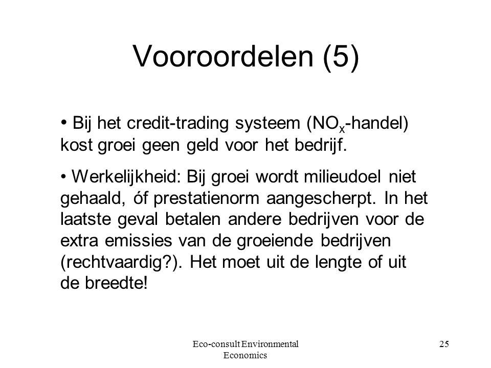 Eco-consult Environmental Economics 25 Vooroordelen (5) Bij het credit-trading systeem (NO x -handel) kost groei geen geld voor het bedrijf.
