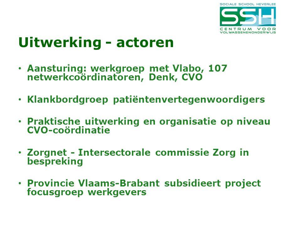 Uitwerking - actoren Aansturing: werkgroep met Vlabo, 107 netwerkcoördinatoren, Denk, CVO Klankbordgroep patiëntenvertegenwoordigers Praktische uitwerking en organisatie op niveau CVO-coördinatie Zorgnet - Intersectorale commissie Zorg in bespreking Provincie Vlaams-Brabant subsidieert project focusgroep werkgevers