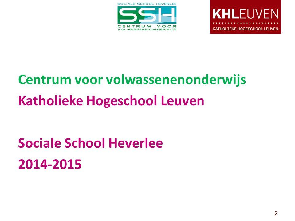Centrum voor volwassenenonderwijs Katholieke Hogeschool Leuven Sociale School Heverlee 2014-2015 2