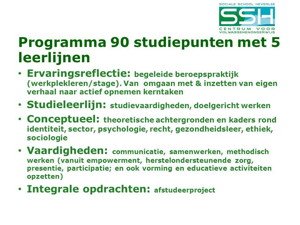 Programma 90 studiepunten met 5 leerlijnen Ervaringsreflectie: begeleide beroepspraktijk (werkplekleren/stage).
