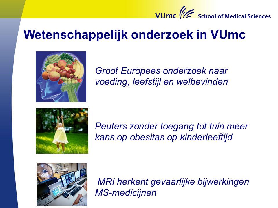 Groot Europees onderzoek naar voeding, leefstijl en welbevinden Peuters zonder toegang tot tuin meer kans op obesitas op kinderleeftijd MRI herkent gevaarlijke bijwerkingen MS-medicijnen Wetenschappelijk onderzoek in VUmc
