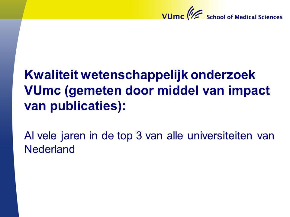 Kwaliteit wetenschappelijk onderzoek VUmc (gemeten door middel van impact van publicaties): Al vele jaren in de top 3 van alle universiteiten van Nederland