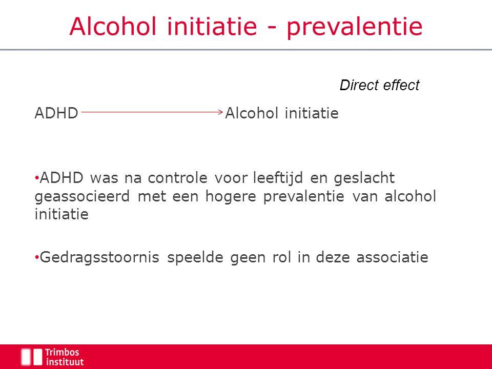 ADHD Alcohol initiatie ADHD was na controle voor leeftijd en geslacht geassocieerd met een hogere prevalentie van alcohol initiatie Gedragsstoornis speelde geen rol in deze associatie Direct effect