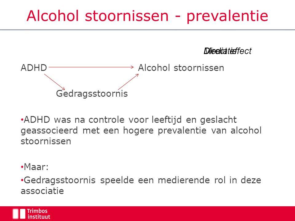 Alcohol stoornissen - prevalentie ADHD Alcohol stoornissen Gedragsstoornis ADHD was na controle voor leeftijd en geslacht geassocieerd met een hogere prevalentie van alcohol stoornissen Maar: Gedragsstoornis speelde een medierende rol in deze associatie Direct effectMediatie