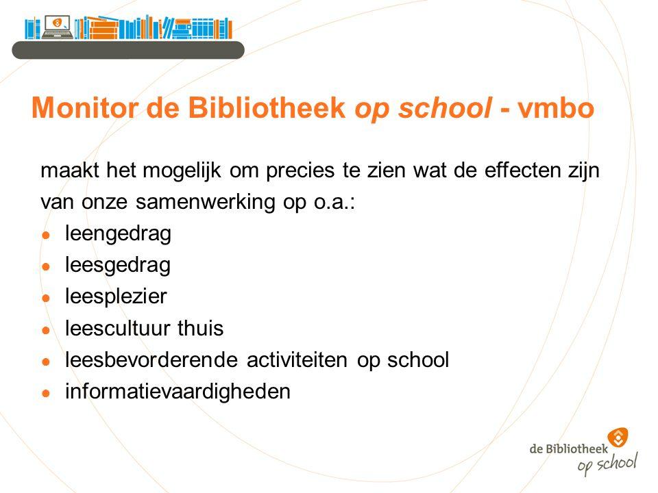 Monitor de Bibliotheek op school - vmbo maakt het mogelijk om precies te zien wat de effecten zijn van onze samenwerking op o.a.: ● leengedrag ● leesg