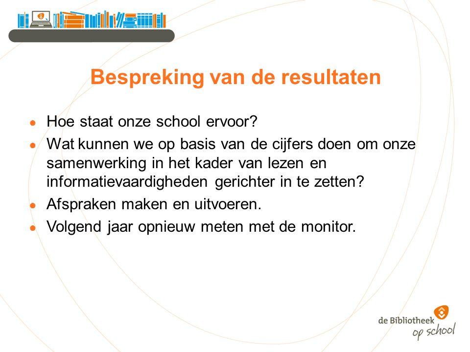 Bespreking van de resultaten ● Hoe staat onze school ervoor? ● Wat kunnen we op basis van de cijfers doen om onze samenwerking in het kader van lezen