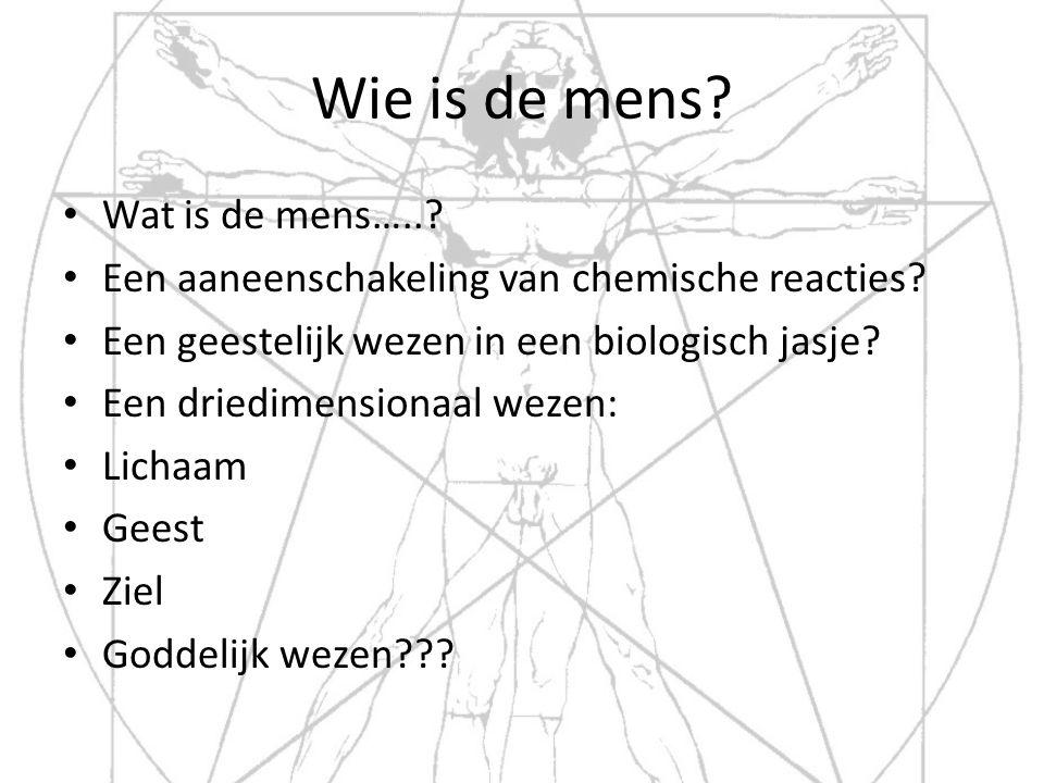 Wie is de mens? Wat is de mens…..? Een aaneenschakeling van chemische reacties? Een geestelijk wezen in een biologisch jasje? Een driedimensionaal wez
