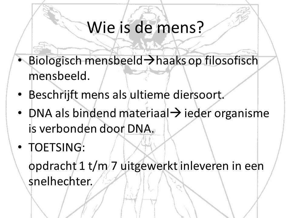 Wie is de mens? Biologisch mensbeeld  haaks op filosofisch mensbeeld. Beschrijft mens als ultieme diersoort. DNA als bindend materiaal  ieder organi