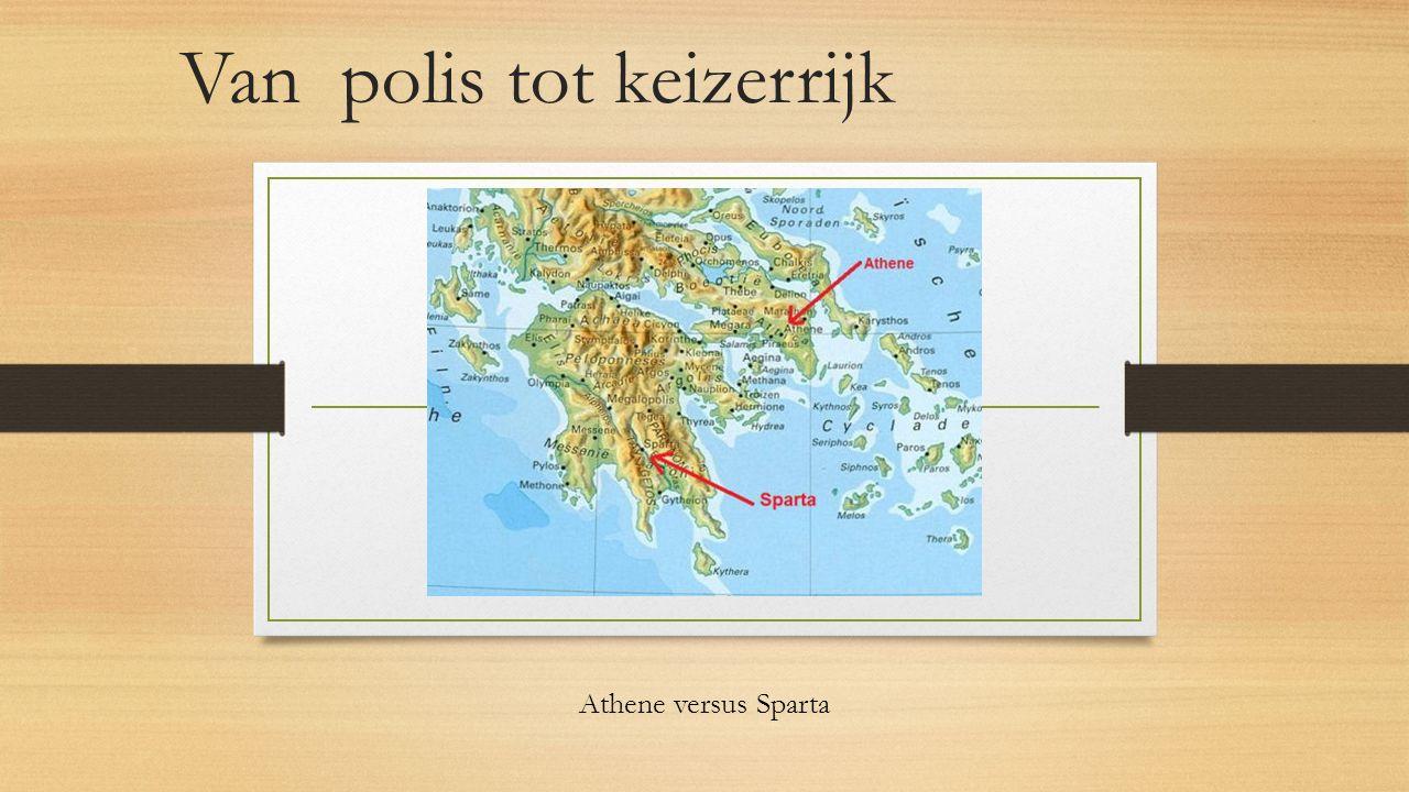Sparta Athene Politiek Sparta - Aristocratie Athene - Na verschillende bestuurvormen uiteindelijk: Democratie( volksvergadering) Democratie anders dan nu: - Alle burgers stemden mee - Slaven, vrouwen en buitenlanders waren geen burgers