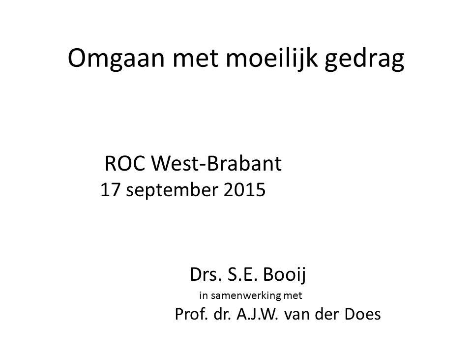 Omgaan met moeilijk gedrag ROC West-Brabant 17 september 2015 Drs.