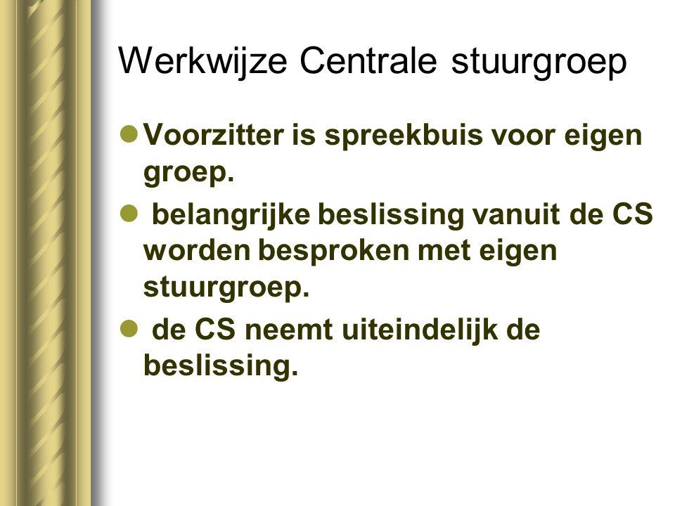 Werkwijze Centrale stuurgroep Voorzitter is spreekbuis voor eigen groep. belangrijke beslissing vanuit de CS worden besproken met eigen stuurgroep. de