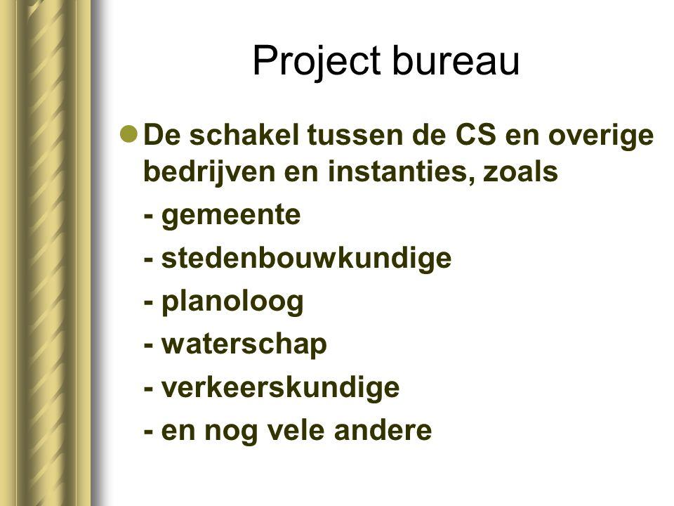 Project bureau De schakel tussen de CS en overige bedrijven en instanties, zoals - gemeente - stedenbouwkundige - planoloog - waterschap - verkeerskundige - en nog vele andere