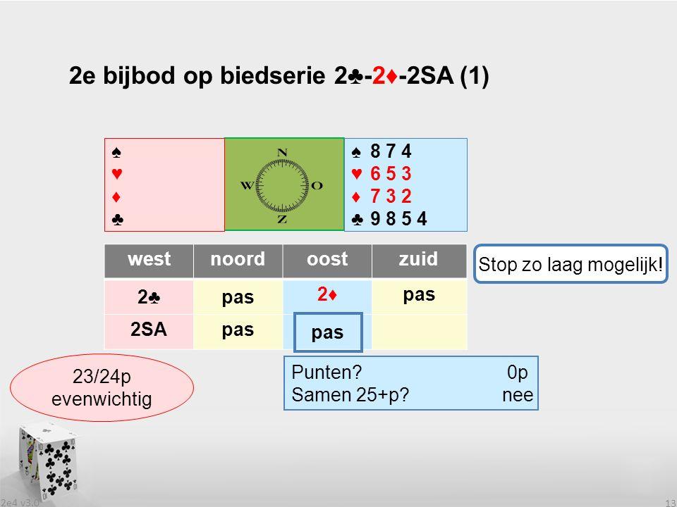 2e4 v3.0 13 2e bijbod op biedserie 2♣-2♦-2SA (1) westnoordoostzuid 2♣2♣pas 2♦2♦ 2SApas .