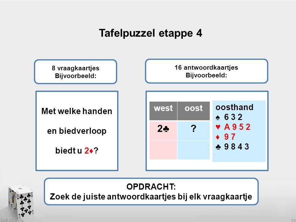 2e4 v3.0 19 Tafelpuzzel etappe 4 OPDRACHT: Zoek de juiste antwoordkaartjes bij elk vraagkaartje 8 vraagkaartjes Bijvoorbeeld: 16 antwoordkaartjes Bijvoorbeeld: Met welke handen en biedverloop biedt u 2♦.